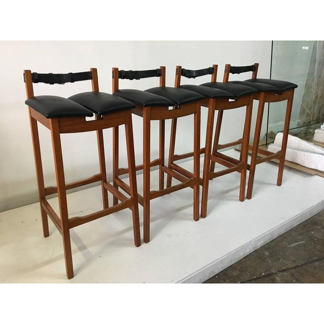 Animal Skin Set of 4 Leather Strap Danish Barstools For Sale - Image 7 of 7