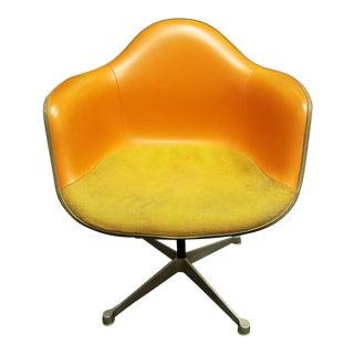 Mid-Century Modern Orange Herman Miller Upholstered Fiberglass Shell Arm Chair For Sale