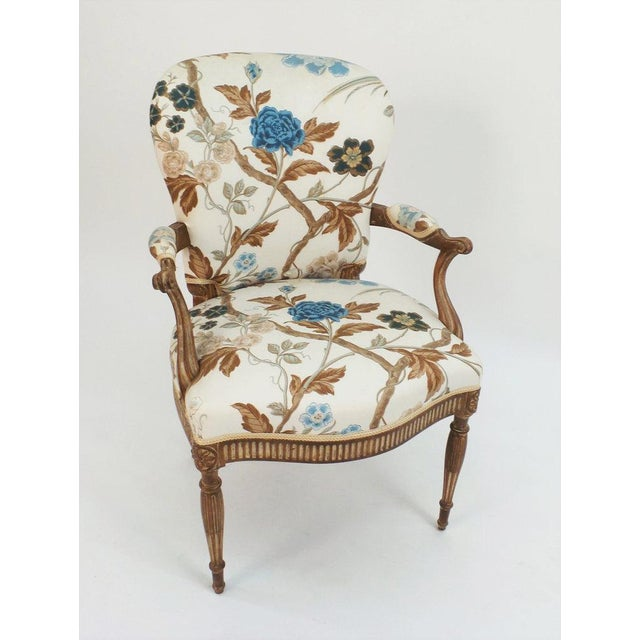 An Adam style armchair with all upholstered back and fluted legs and seat rails. Custom finishes available. Upholstered...