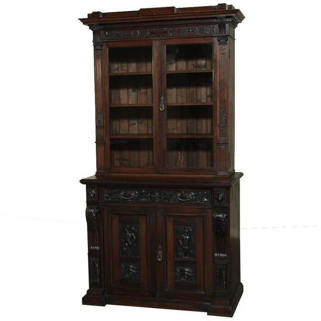 19th Century Renaissance Revival Bookcase With Angels~ Putti For Sale - Image 13 of 13
