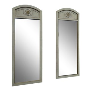 French Distressed Painted Pair of Wall Bathroom Vanity Mirrors by Garoner 2222 For Sale