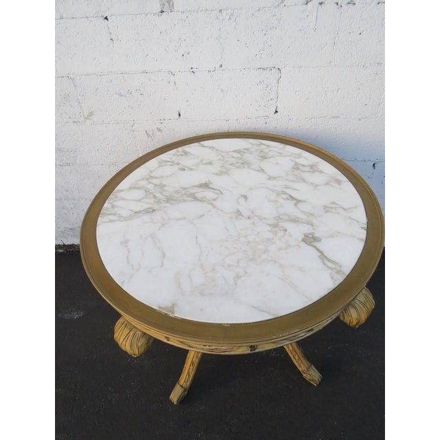 French Painted Heavy Carved Marble Top Large Center Table For Sale In Miami - Image 6 of 11