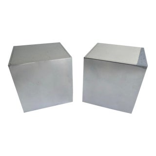 Pair of Polished Aluminum Cube-Form Bookends Designed by Bill Curry for Design Line C. 1960s For Sale