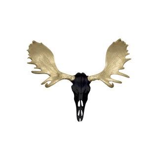 Wall Charmers Alberta Faux Black + Gold Antlers Resin Moose Head Skull