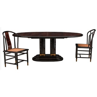 Chinoiserie Henredon Black Lacquer and Burl Dining Table - 7 Pieces Preview