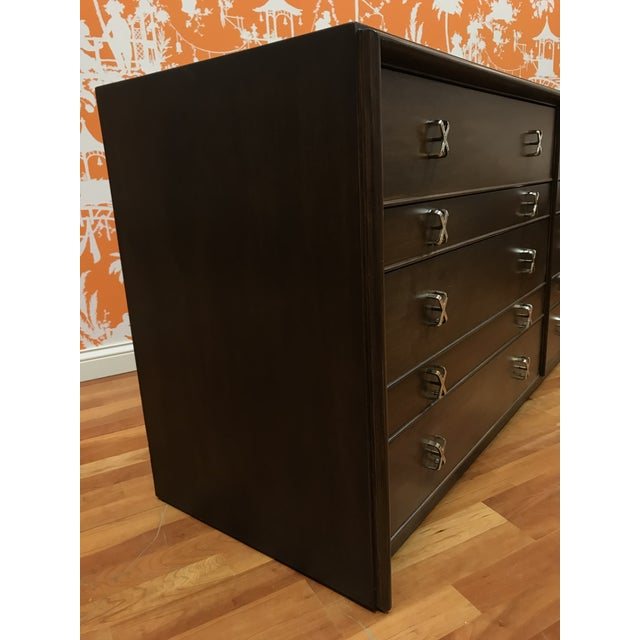 Paul Frankl 10 drawer dresser has been beautifully restored with a new finish to enhance the Walnut veneer and Walnut...