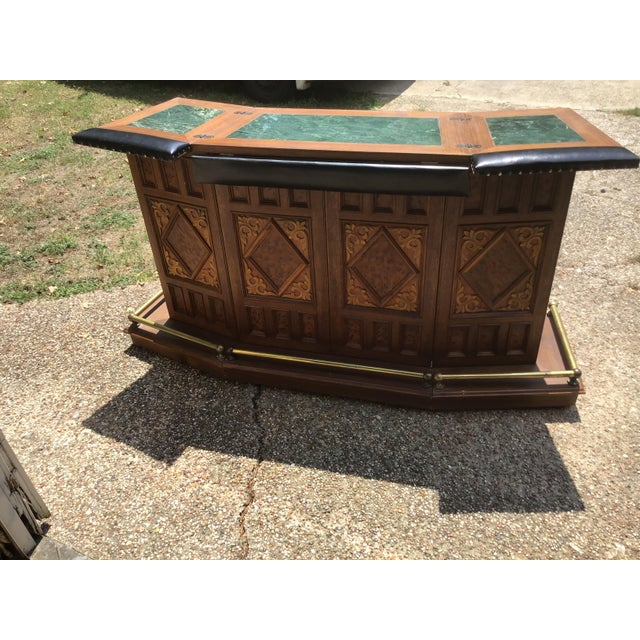 Vintage Carved Chinese Oriental Style Folding Expandable Bar Cabinet For Sale - Image 12 of 12