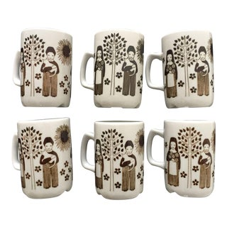 Mid-Century Brown & White Norwegian Petit Mugs - Set of 6 For Sale