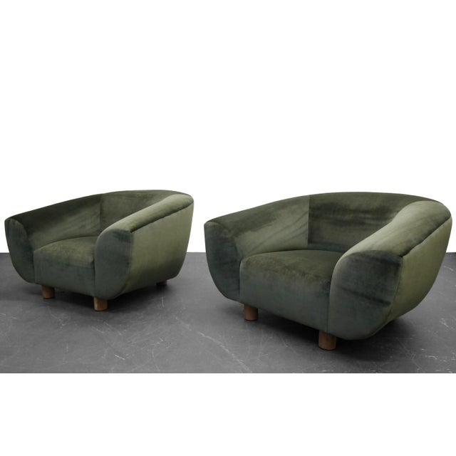 Mid Century Polar Bear Style Barrel Chairs After Jean Royere A