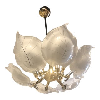 Vintage Italian Hollywood Regency Murano Glass Brass Tropical Leaf Chandelier For Sale