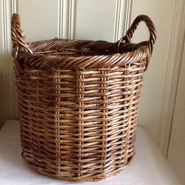 Large Natural Wood Wicker Basket - Image 3 of 6