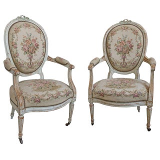 Pair of French 19th Century Louis XVI Style Armchairs in Petit Point Fabric For Sale