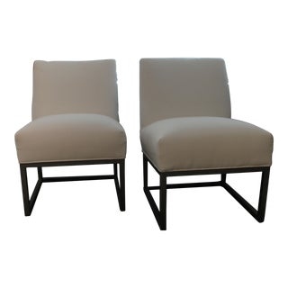 C R Laine Lounge Chairs in White Sunbrella Fabric - a Pair For Sale