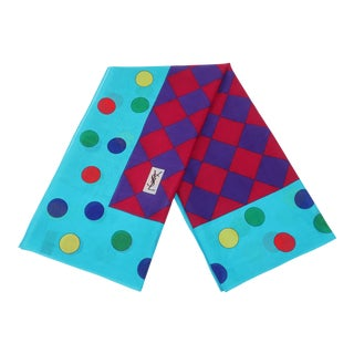 Colorful Yves Saint Laurent Large Polka Dot Cotton Scarf For Sale