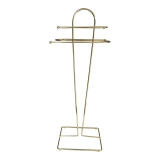 Mid-Century Modern Brass Wire Free Standing Towel Rack For Sale