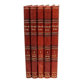 French Leather-Bound Books - Set of 5 For Sale