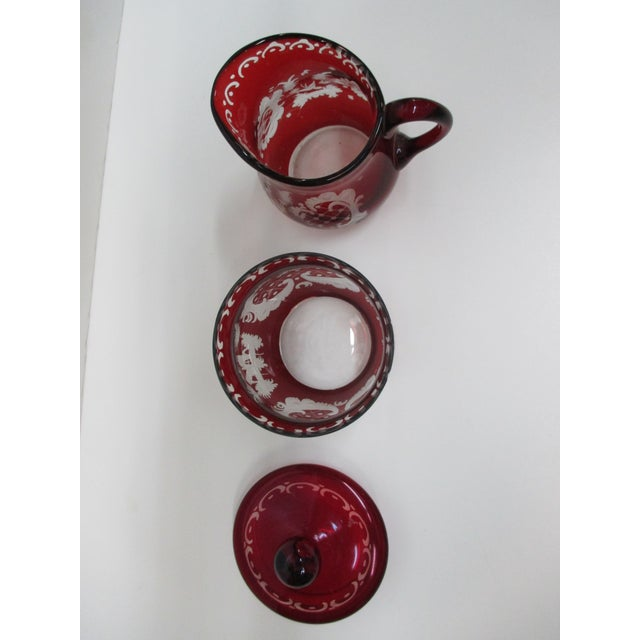 Boho Chic Vintage Set of Sugar and Creamer in Cranberry Glass With Lid For Sale - Image 3 of 6