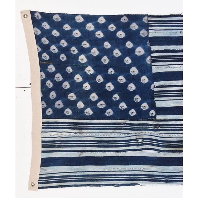 Custom Tailored Blue & White Flag Created From Vintage African Fabrics - Image 8 of 11