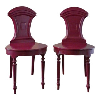 Lacquered Hall Chairs - A Pair For Sale
