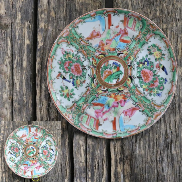 Antique Chinese Qing Rose Medallion Porcelain 6-Inch Cupped Plates Set of 8 For Sale - Image 11 of 13