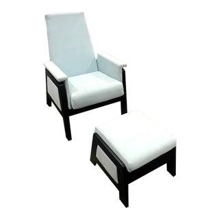 Dutailier Urban Baby Blue & Espresso Chair & Ottoman Set - 2 Pieces For Sale