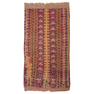 Vintage Moroccan Orange and Pink Wool Rug - 5′10″ × 11′3″ For Sale