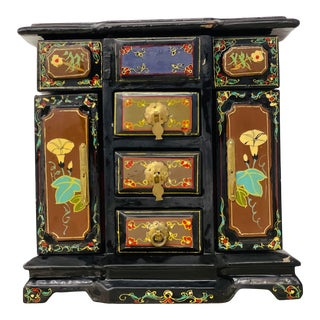 Vintage Asian Hand Painted Black Chinoiserie Style Jewelry Box For Sale
