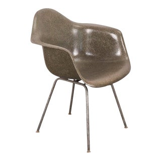 1960s Vintage Eames Olive Green Armshell Chair For Sale