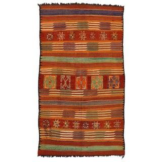 "Vintage Berber Moroccan Kilim Tribal Rug - 6'2"" X 10'9"" For Sale"