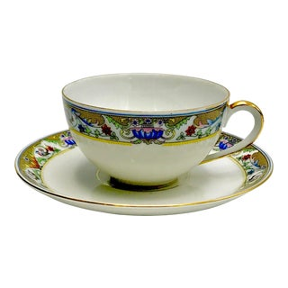 Rare 1920s Koenigszelt Silesia Bone China Teacup and Saucer - A Pair For Sale
