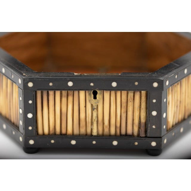 Pair of Ebony and Porcupine Quill Hexagonal Boxes, Ceylon, Circa 1880 For Sale In San Francisco - Image 6 of 10