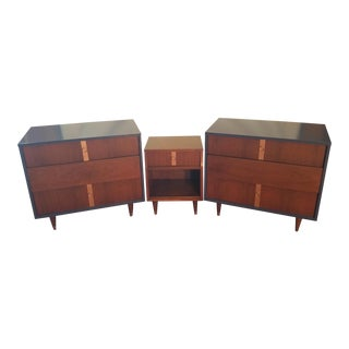 Lacquered Vintage Kroehler Deep Royal Blue & Copper Dressers & Nightstand - Set of 3 For Sale