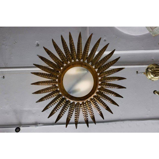 Spanish Spanish Gilt Metal Sunburst Ceiling Fixture With Leaf Decoration For Sale - Image 3 of 8