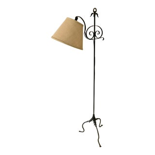 1920s Swing Arm Floor Lamp with Shade For Sale