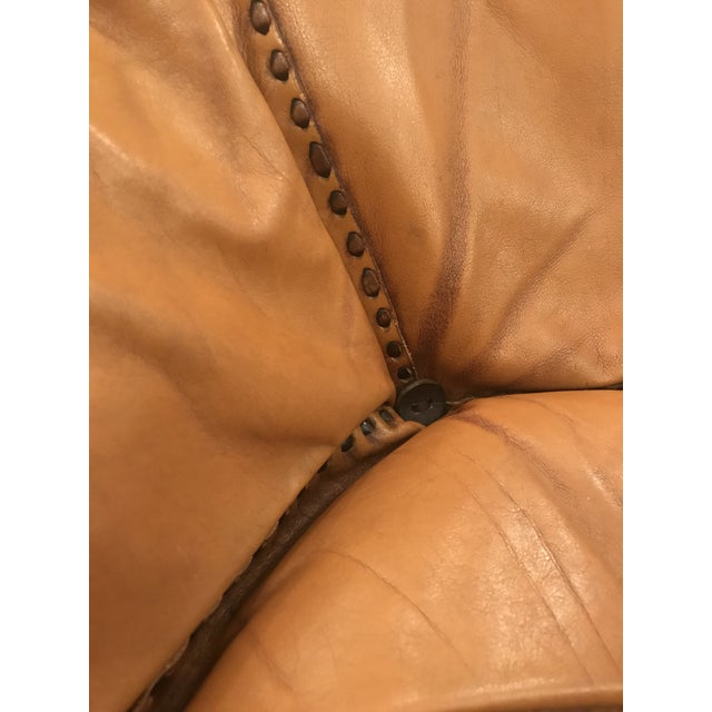 Mid 20th Century Vintage Mid Century Cognac Brown Leather Sofa For Sale - Image 5 of 13