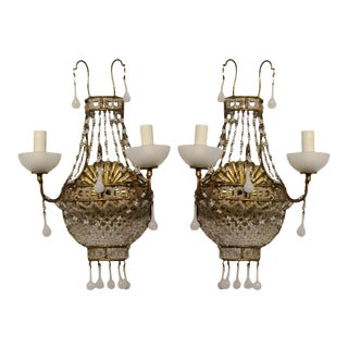 1920's French White Opaline Wall Sconces - A Pair