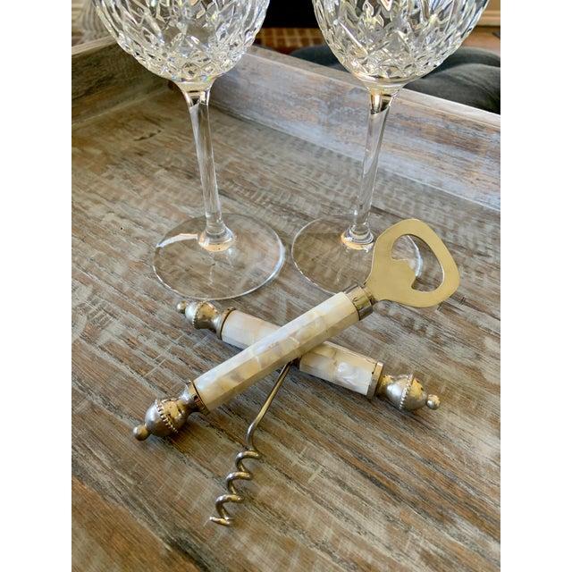 Mid-Century Modern Vintage Mother of Pearl Corkscrew Wine & Bottle Opener Set For Sale - Image 3 of 8