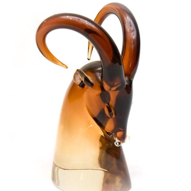 Orange 1970's Vintage Seguso Murano Sommerso Amber Italian Art Glass Ram Sculpture For Sale - Image 8 of 13