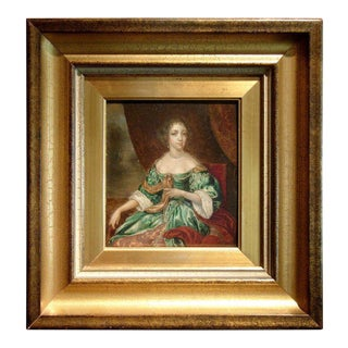 18th Century European Oil on Board Portrait of a Lady For Sale