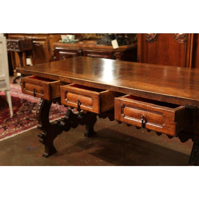 Louis XIII Important 18th Century Spanish Carved Walnut Console Table With Secret Drawers For Sale - Image 3 of 12