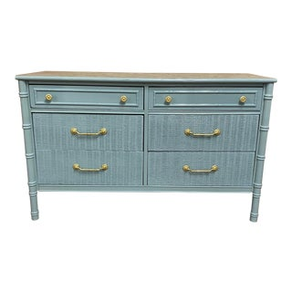 Vintage Thomasville Faux Bamboo and Wicker Dresser Professionally Lacquered in Sioux Falls For Sale
