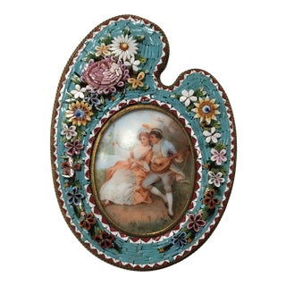 Antique Micro Mosaic Frame With Painted Lover's Scene For Sale