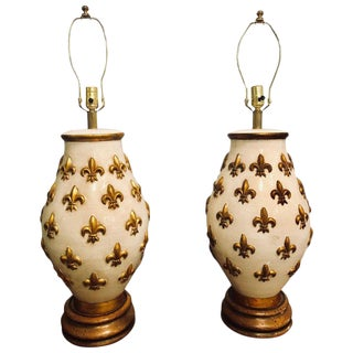 White and Gilt Porcelain Bulbous Shaped Table Lamps - a Pair For Sale