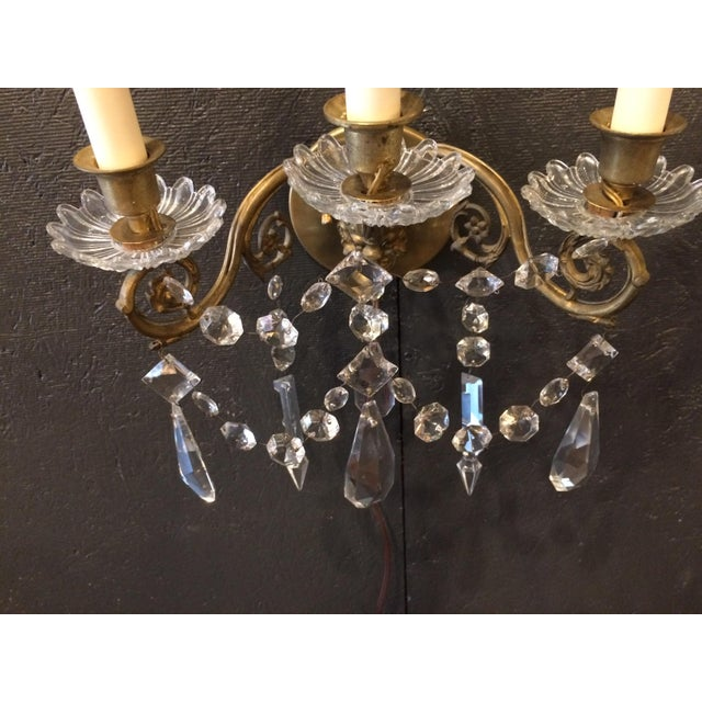 Napoleon III Bronze and Crystal Sconces - A Pair For Sale - Image 5 of 9