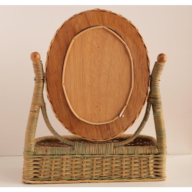 Late 20th Century Wicker Vanity Mirror With Storage For Sale - Image 5 of 6