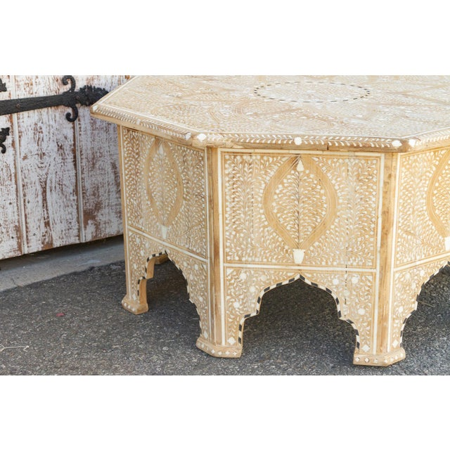 Ecru Charming Anglo Indian Farmhouse Lotus Inlaid Coffee Table For Sale - Image 8 of 13