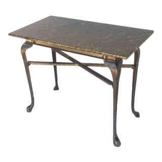 English Pub Bistro Table of Cast Iron with Granite Top For Sale