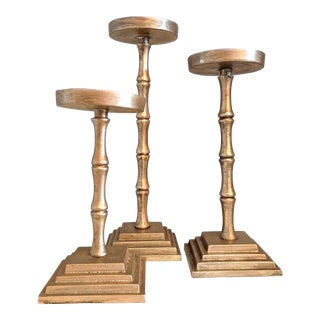 Gold Toned Metal Bamboo Candle Holders - Set of 3 For Sale