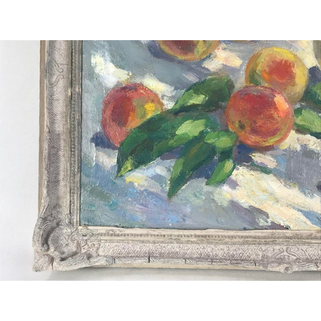 Boho Chic 20th Century Impressionistic Oil Painting of Peaches on Table For Sale - Image 3 of 10
