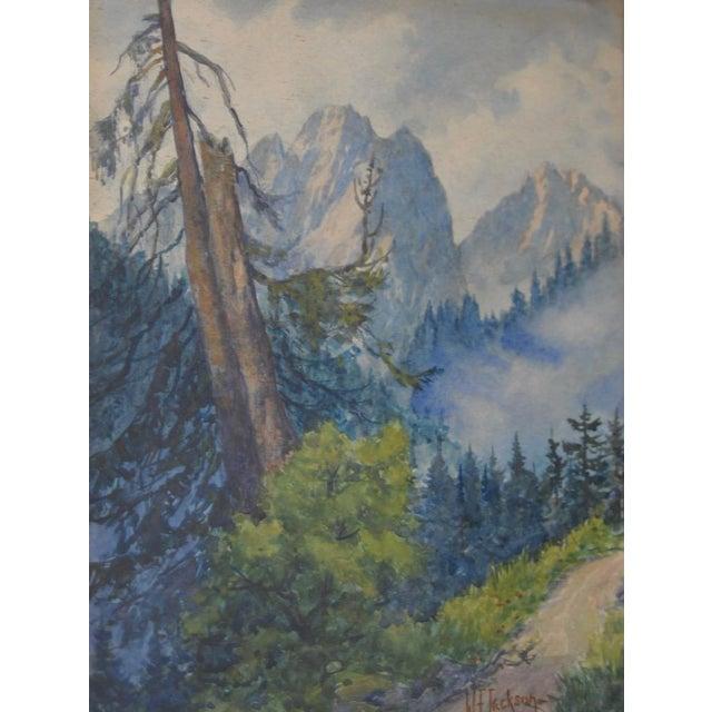 The American School Sierra Mountain Landscape Watercolor by W.F. Jackson c.1910 For Sale - Image 3 of 7